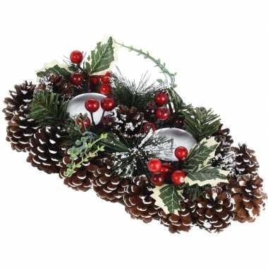 Tafel kerstdecoratie kaarsenstandaard 34 cm