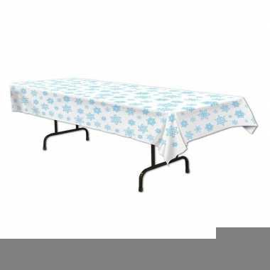 Tafellaken/tafelkleed wit met sneeuwvlokken 137 x 274 cm