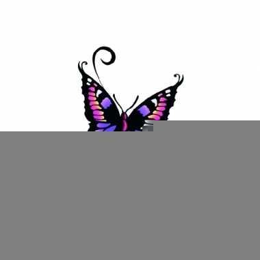 Tatoeages glitter vlinder zwart/paars
