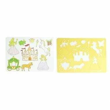 Tekensjabloon prinsessen geel