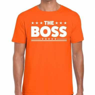 The boss tekst t-shirt oranje heren