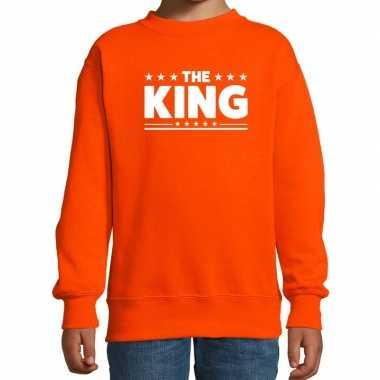 The king tekst sweater oranje kids