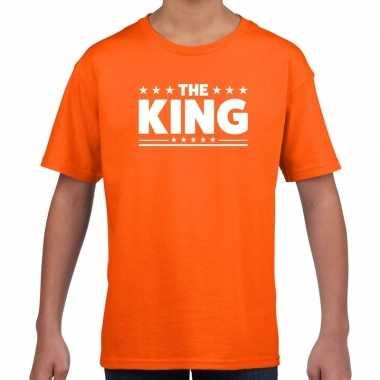 The king tekst t-shirt oranje kids