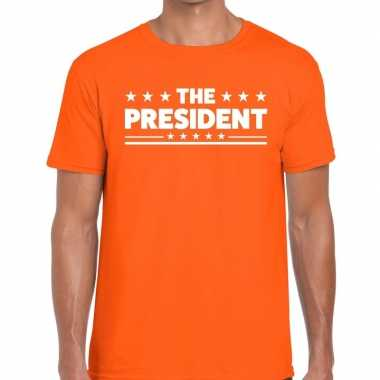 The president tekst t-shirt oranje heren