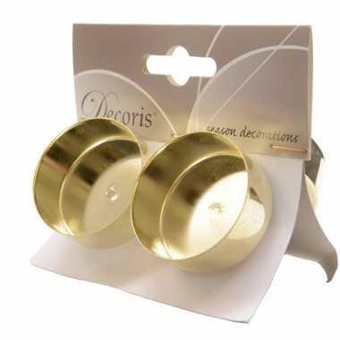 Theelichthouders met ijzeren pin goud 4 stuks