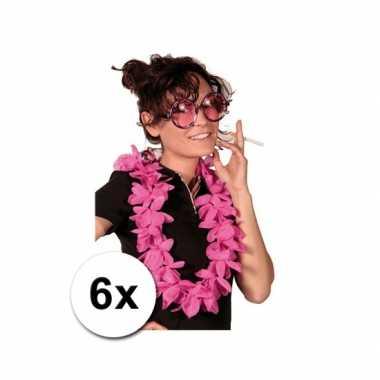 Themafeest hawaii kransen roze 6 stuks