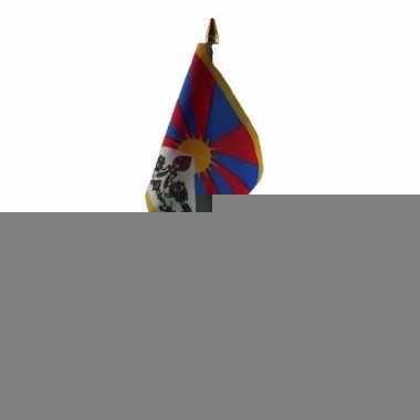 Tibet tafelvlaggetje 10 x 15 cm met standaard