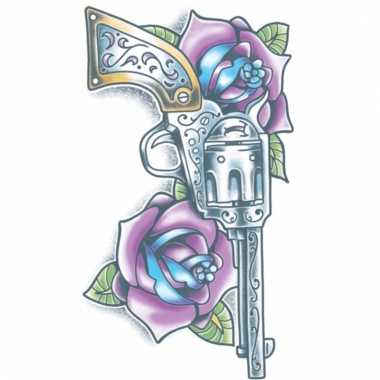 Tijdelijke tatoeage gekleurde revolver