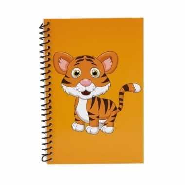 Tijger notitieboekje oranje 18cm trend