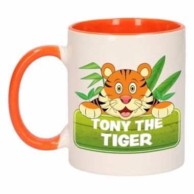 Tijger theebeker oranje / wit tony the tiger 300 ml