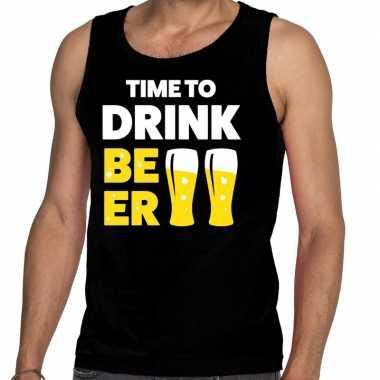 Time to drink beer tanktop / mouwloos shirt zwart heren