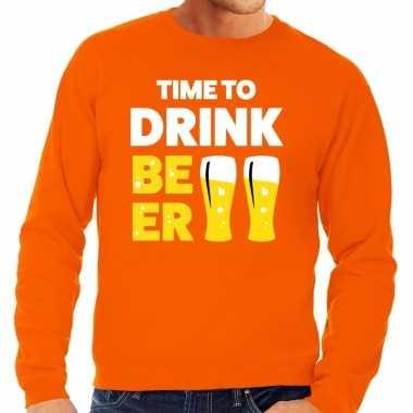 Time to drink beer tekst sweater oranje voor heren