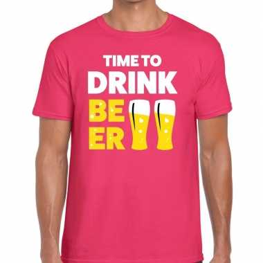 Time to drink beer tekst t-shirt roze heren