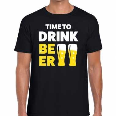 Time to drink beer tekst t-shirt zwart heren