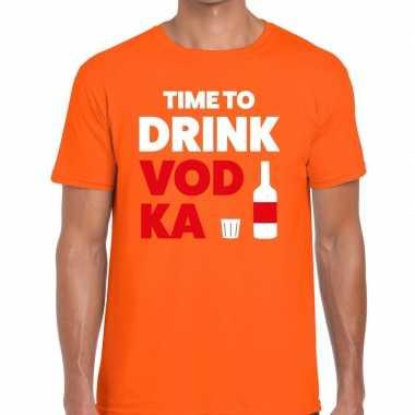 Time to drink vodka tekst t-shirt oranje heren