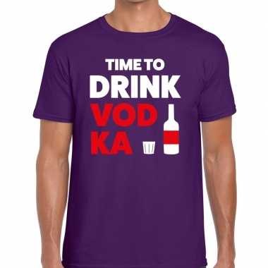 Time to drink vodka tekst t-shirt paars heren