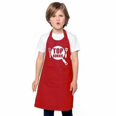 Top kokkie keukenschort rood kinderen