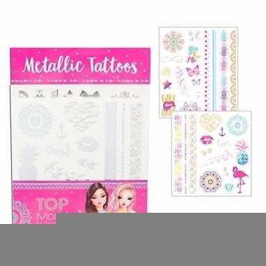 Topmodel plak tattoos metallic voor meisjes