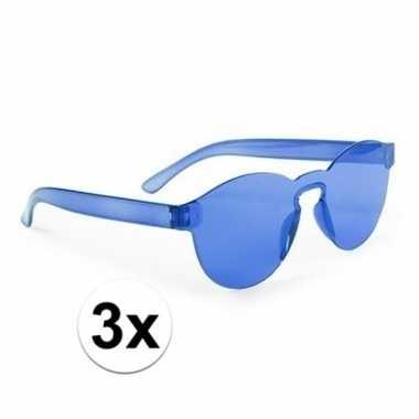 Toppers - 3x blauwe verkleed zonnebrillen voor volwassenen