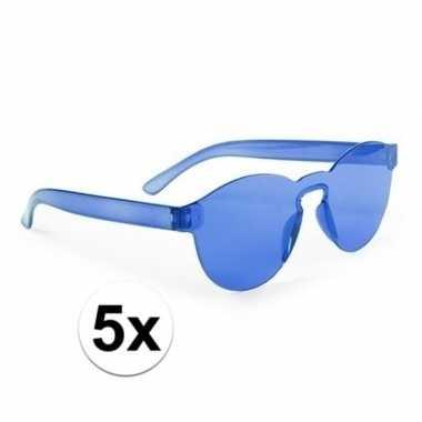 Toppers - 5x blauwe verkleed zonnebrillen voor volwassenen