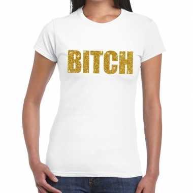 Toppers - bitch glitter tekst t-shirt wit dames