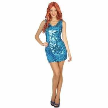 Toppers - blauw disco verkleed jurkje met pailletten voor dames