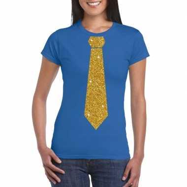 Toppers - blauw fun t-shirt met stropdas in glitter goud dames