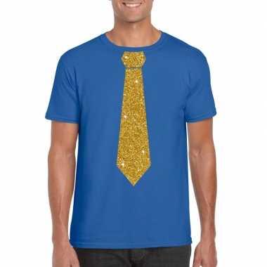 Toppers - blauw fun t-shirt met stropdas in glitter goud heren