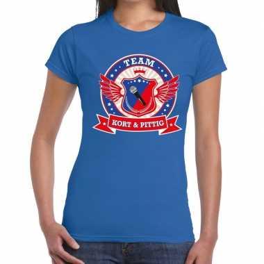Toppers - blauw kort en pittig team t-shirt dames