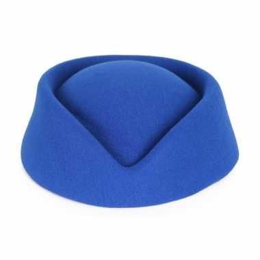 Toppers - blauw stewardess hoedje voor dames