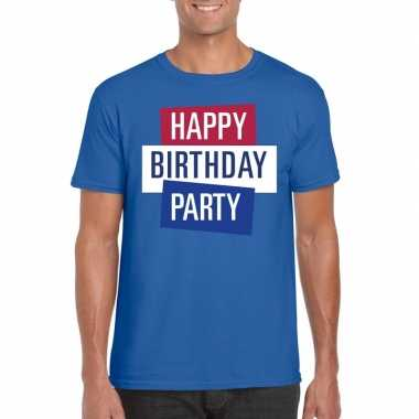Toppers - blauw toppers happy birthday party heren t-shirt officieel
