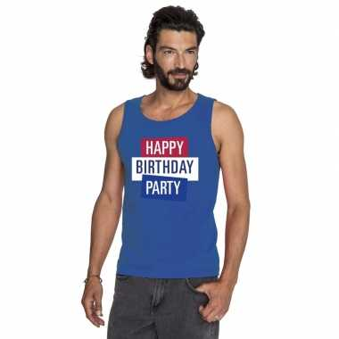 Toppers - blauw toppers happy birthday party mouwloos shirt heren