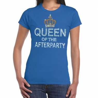 Toppers - blauw toppers queen of the afterparty glitter t-shirt dames