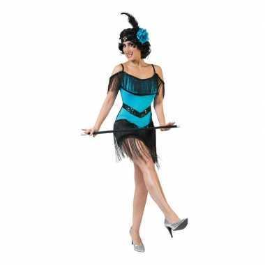 Toppers - blauw/zwart charleston verkleed jurkje voor dames