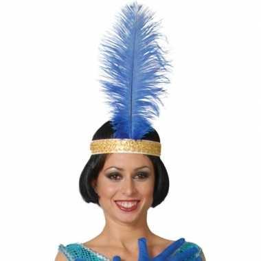 Toppers - blauwe pauwenveer charleston/jaren 20 verkleed accessoire 4