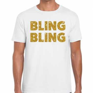 Toppers - bling bling glitter tekst t-shirt wit heren