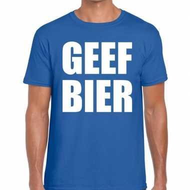 Toppers - geef bier heren t-shirt blauw