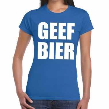 Toppers - geef bier tekst t-shirt blauw dames