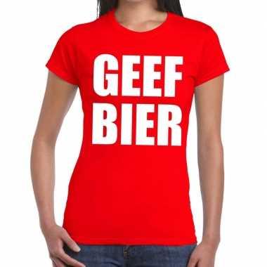 Toppers - geef bier tekst t-shirt rood dames