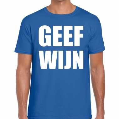 Toppers - geef wijn heren t-shirt blauw