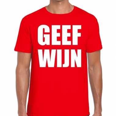 Toppers - geef wijn heren t-shirt rood