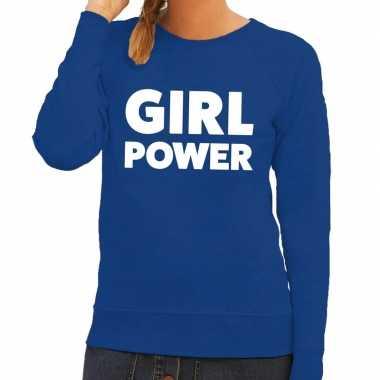 Toppers - girl power tekst sweater blauw voor dames