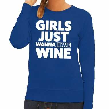 Toppers - girls just wanna have wine tekst sweater blauw voor dames