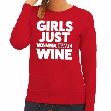 Toppers - girls just wanna have wine tekst sweater rood voor dames
