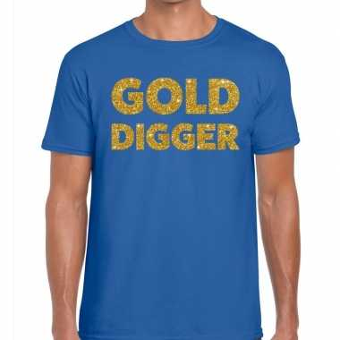 Toppers - gold digger glitter tekst t-shirt blauw heren
