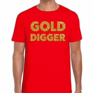Toppers - gold digger glitter tekst t-shirt rood heren