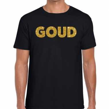 Toppers - goud glitter tekst t-shirt zwart heren
