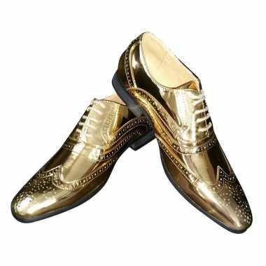 Toppers - gouden glimmende brogues/disco schoenen voor heren