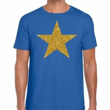 Toppers - gouden ster glitter fun t t-shirt blauw heren