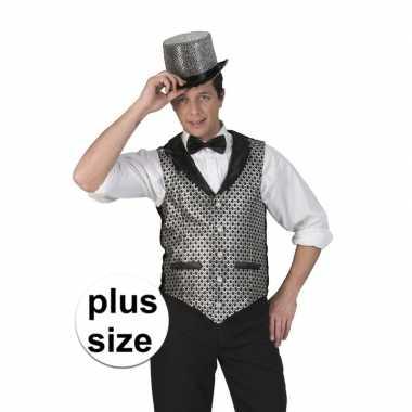 Toppers - grote maat zilver/zwart verkleed gilet voor heren